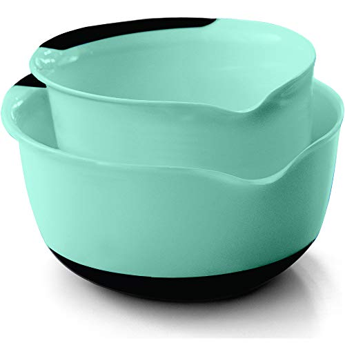 Gorilla Grip Mixing Bowls Set of 2, Slip Resistant Bottom, Includes 5 Qt and 3 Quart Nested Bowl, Perfect for the Dishwasher, Grip Handle for Easy Mix and Pour, Baking and Cooking 2 Piece Set, Mint