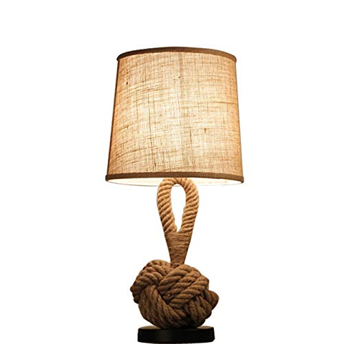 HHKQ Lámpara de Mesa Cáñamo Cuerda, Industrial Lámpara de Cabecera con Pantalla de Tela E27 Retro Lámpara de Escritorio para Sala de Estar Dormitorio Decoración