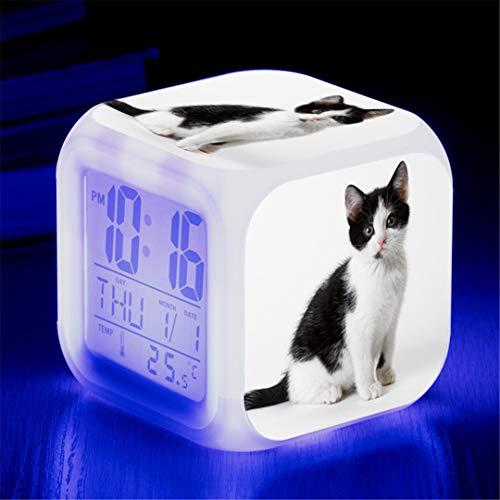 JCYY Katze Lauter Wake up Wecker Digital 7 Farben Licht Wecker Schlafzimmer Lautlos Wecker Beste Geburtstag Geschenk zum Film Fans,7