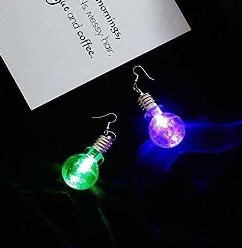 Gwill 2Pairs/4Pieces LED Blinking Bulb Fashion Women Light Up Earring Ear Hook Dangle Party Pub Christmas Halloween Earrings Jewelry
