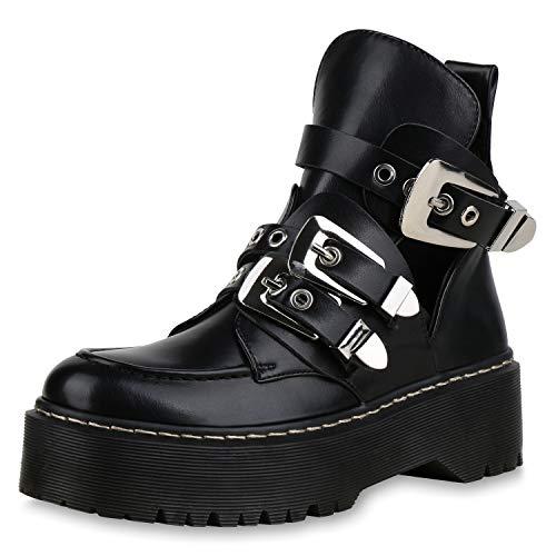 SCARPE VITA Damen Stiefeletten Plateau Boots Cut Out Ankle Booties Schnallen 173338 Schwarz Silber...