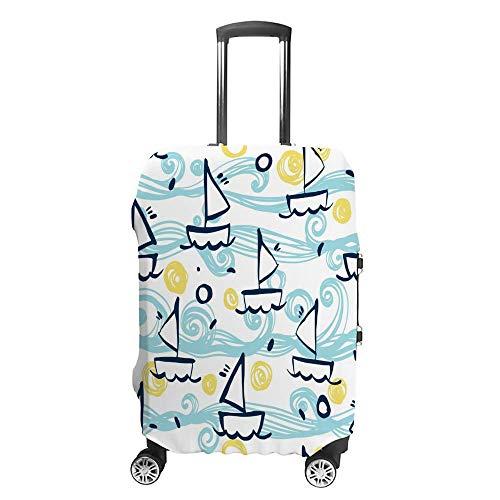 Gepäckabdeckung, verdickt, waschbar, blaues Schiffsmuster, Polyester, Faser, elastisch, faltbar, leicht, Reisekoffer-Schutz