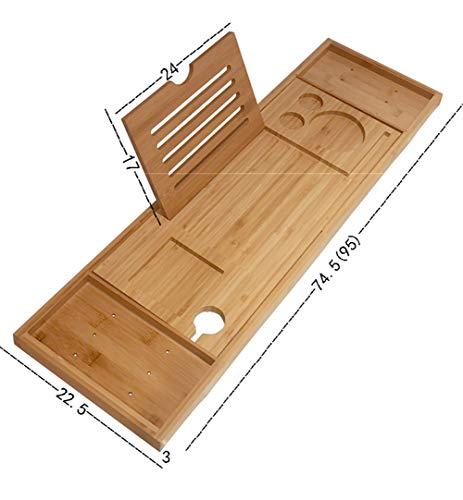 Bad Tray Für Wanne, Einstellbarer Badewanne Tablett Mit Erstreckender Seiten, Badewanne Caddy Mit Spiegel, Buch Tablet, Weinglas-Halter Und Handtuchhalter, Bambus