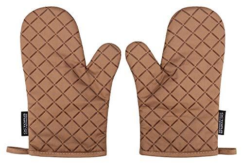 OCTOPUS Kitchenware Back-Ofenhandschuhe, Grill-Handschuhe, Backhandschuhe, Topfhandschuhe, 2er Set, hitzebeständige Silikon-Beschichtung Anti-Rutsch (Cappucchino-Braun)