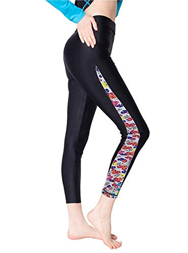GEEK LIGHTING Womens Wetsuit Pants UV Protective Surfing Board Diving Canoing Pants Floral-A Medium