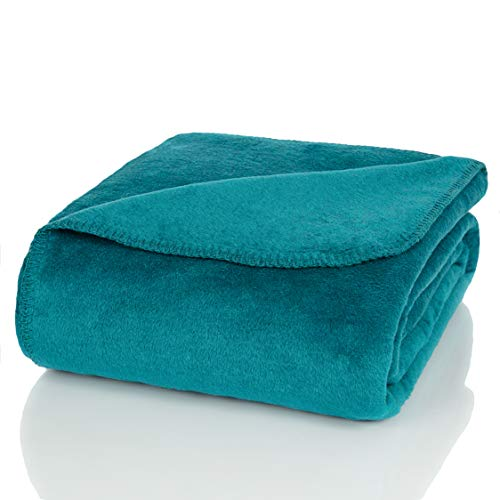 Glart Manta, tamaño XL, para sofá, Suave y cálida, Extra mullida, como Manta de sofá, Manta de Peluche, Color Azul (Petróleo), 150 x 200 cm