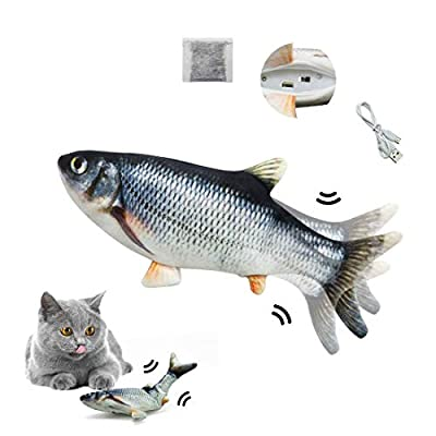 "Floppy Fish,Pawfurr Interactive Fish Toy,11""USB Charging Interactive Fish Toy,Made of Cotton and Short Plush,Cat Kicker Fish Toy Can Chew and Kick,Reducing Stress for Cats.?Must Tap to Start?"