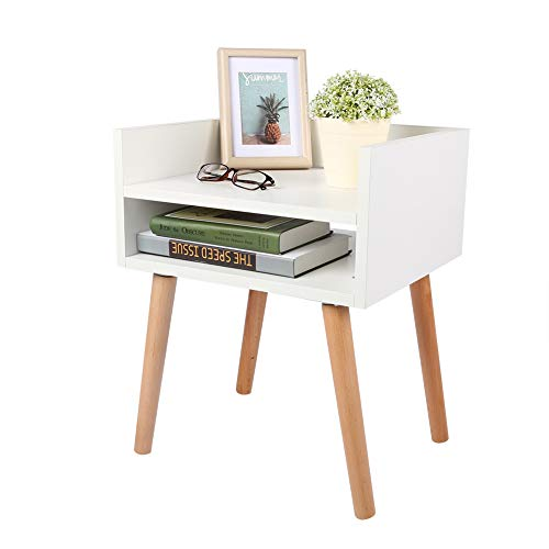 Cocoarm Bedside Table Nightstand Nordic Style Side Table Storage Wood Small Side Table End Table Organizer Cabinet with Open Storage Shelf and Wooden Legs for Home Bedroom Living Room