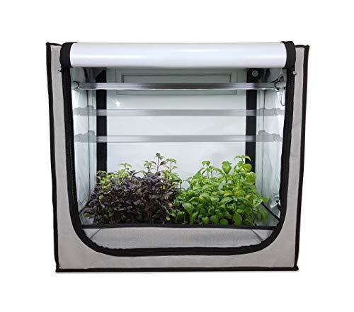 FYTO Base Pro • All-in-One Zimmergewächshaus mit Vollspektrum LED und Umluftventilator • Growbox für Sämlinge, Stecklinge und Aussaat (V65 Pro (65x40x60cm))