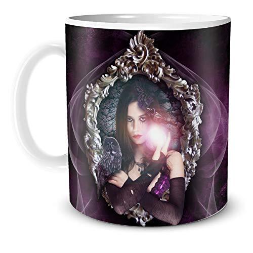 TRIOSK Fantasy Teebecher Hexe mit Hexen Motiv Purple Witch zauberhaft mystisch Gothic Zaubertrank magisch für Zauberer