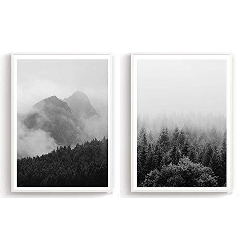 Flanacom Design Poster 2er Set A3 Schwarz Weiß - hochwertiger Kunstdruck auf Hochglanz Premiumpapier - Bilder Skandinavisch - Moderne Deko Wohnung - Motiv Wald (27 x 42 cm) (ohne Rahmen)