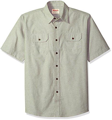 Wrangler Authentics Men's Short Sleeve Classic Woven Shirt, sea spray chambray XL