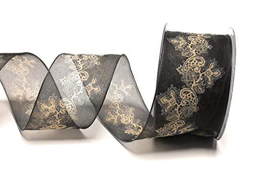 Unbekannt TRAUERBAND 15m x 60mm schwarz - beige Organza Ornamente Dekoband [9780]