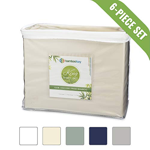 100% Viscose from Bamboo Sheets - Soft, Cool 6-Piece Bamboo Sheet Set - Extra Deep Pocket, No-Slip Fitted Sheet - Comfy, Hypoallergenic Bamboo Sheets (King, Ivory)