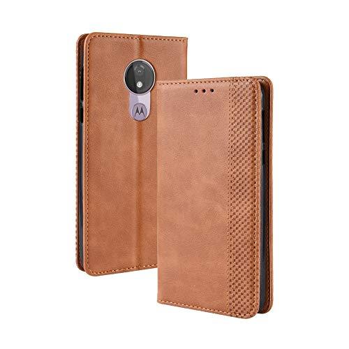 BAIYUNLONG Funda de piel con hebilla magnética, textura retro, con tapa horizontal, para Motorola Moto G7 Power (versión UE), con soporte, ranuras para tarjetas y cartera (negro) (color: marrón)
