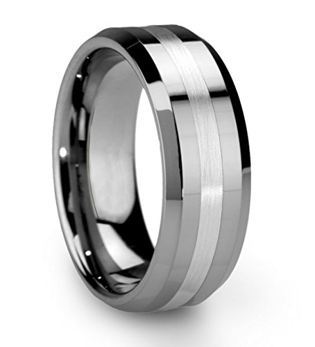 King Will CLASSIC Men's 8mm Tungsten Ring One Tone Matte Finish Brushed Center Wedding Band Beveled Edge(11.5)