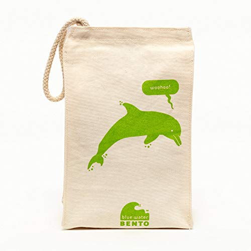 Ecolunchbox Organic Cotton Reusable Lunch Bag for Kids Dolphin