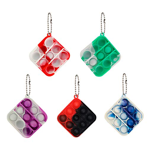 Coolsion 5 Pcs Fidget Toy Mini Stress Relief Hand Toys Keychain Push pop Bubble Fidget Sensory Toy, Anxiety Stress Reliever Office Desk Gifts for Kid and Adult