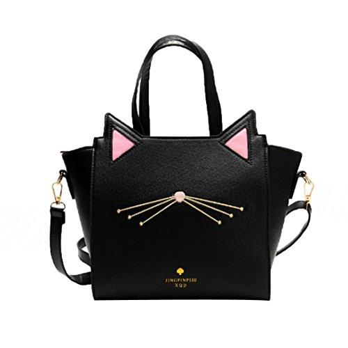 Zarupeng Frauen Reizender Katze Ohr Schulter Beutel Großer Kapazitäts Handtaschen Kurier Beutel (One Size, Schwarz)