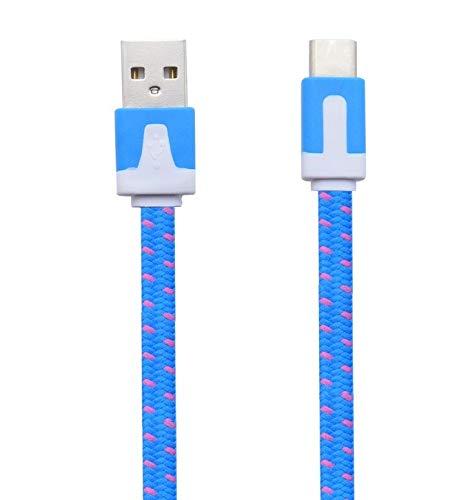 Shot Case - Cable Noodle Type C pour HTC U Ultra Chargeur Android USB 1,5m Connecteur Tresse (Couleur Bleu)