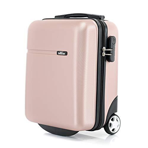 Bontour CabinOne WizzAir Handgepäck 40x30x20 cm 2 Rollen Trolley Bordgepäck Koffer(Rose Gold)