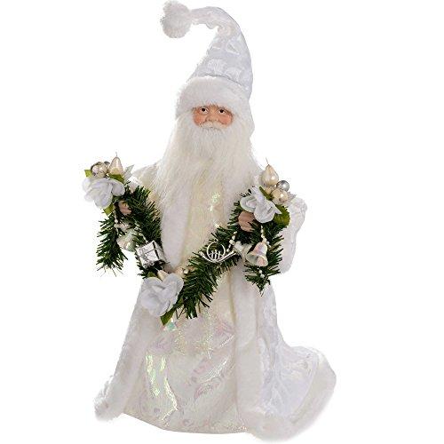 WeRChristmas - Puntale per albero di Natale a forma di Babbo Natale, 40 cm, colore: argento/bianco