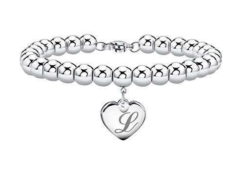 Initial Bracelet for Girl Heart Tag Bead Bracelet Letter L Bracelets Birthday Gifts