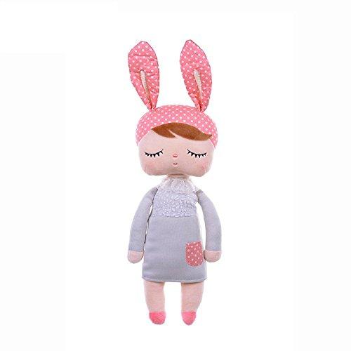 MOMSIV 13'' Metoo Angela Sleeping Bunny Rabbit Girl Baby Stuffed Plush Dolls Toys, Pink Ears with Grey Dress