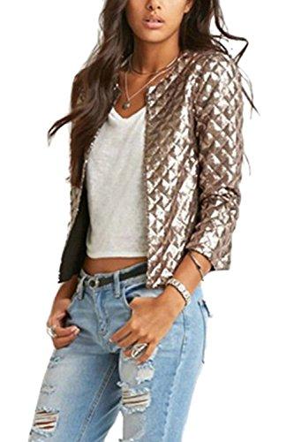 Nimpansa Frauen Jacke Lässig Lange Ärmel Hoch Kragen Jacken Stehen Täglich Gold XL