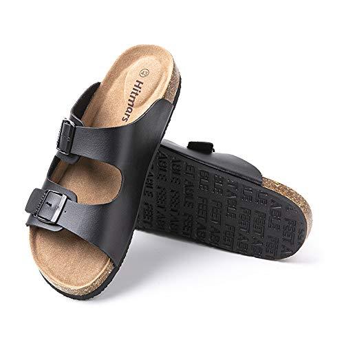 Sandalias Hombre Verano Chanclas Piscina Planta Corcho Zuecosde Punta Descubierta Playa Zapatillas de Casa Zapatos Cómodos Negro-2 43 EU