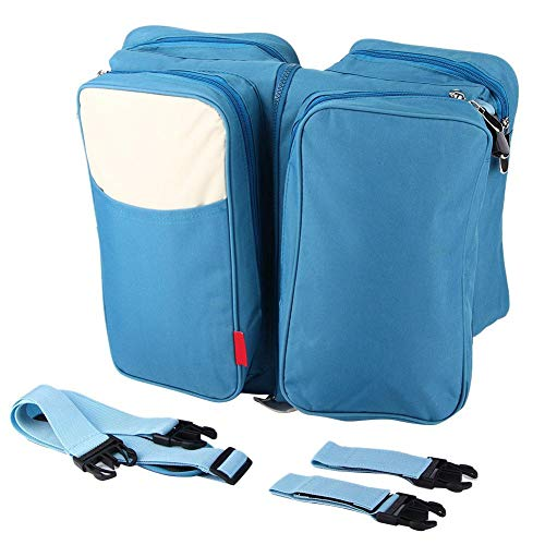 Blue Folding Crib Nappy Bag, Multifunction Large Capacity Diaper Bag Portable Baby Travel...