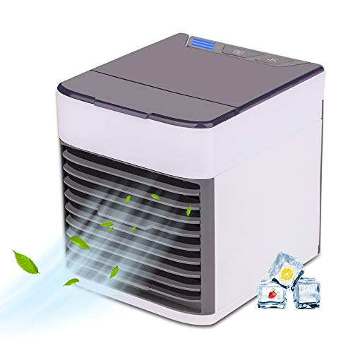 EVAYLIOX Mini Condizionatore Portatile Climatizzatore Portatile ad Acqua Silenzioso Mini Air Cooler Portable Raffredatore d'Aria da Tavolo Ventilatore Rinfrescatore per Casa Ufficio 3 Velocità