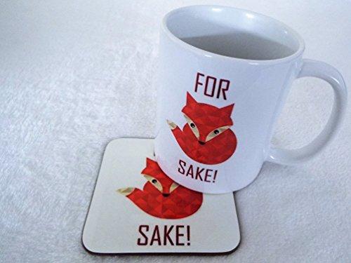 Red for Fox Sake Mug and Wooden Coaster Fun...