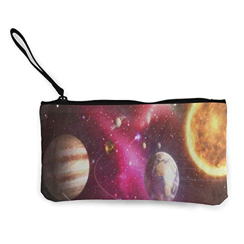 Unisex Wallet, Coin Bags, Canvas Coin Purse Solar System Galaxy Space Customs Zipper Pouch Wallet for Cash Bank Car Passport