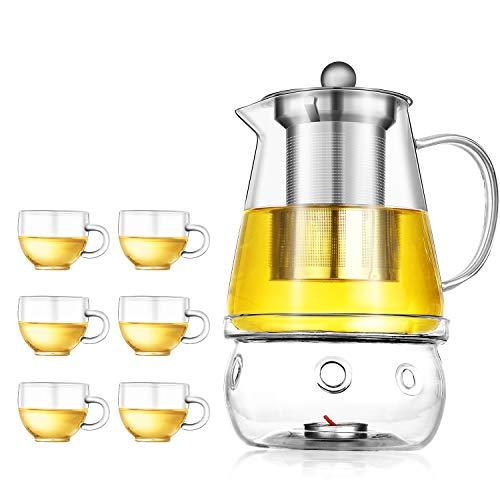 MagoFeliz Teekanne Glas Teebereiter Set mit abnehmbare Edelstahl Sieb Glas Teetasse und 4 Kerzen,Glaskanne Aufheizen auf dem Herd