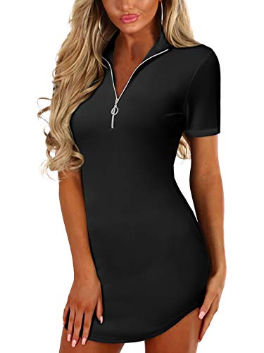 YOINS Sexy Damen Oberteile Kurz Sommerkleid V Ausschnitt Kleider Schwarz Damen Elegant Einfarbig Abendkleider Party Schwarz S