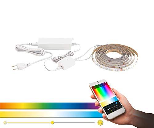 EGLO connect LED Band 3m STRIPE-C, Smart Home Leuchtband, RGB Band selbstklebend und kürzbar, Material: Kunststoff, Länge 3 m, Farbe: weiß, dimmbar, weißtöne und Farben einstellbar