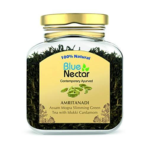 Blue Nectar Amritanadi Assam Slimming Green Tea for Weight Loss with Idukki Cardamom (50g + 15g Free | 33 Cups)