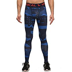 patterned compression leggings for men blue