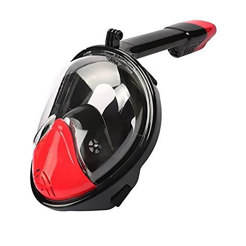 Keep Diving Máscara De Snorkel De Cara Completa Buceo 2 En 1 Tubo De Natación Subacuático De Respiración Seca (Negro + Rojo)