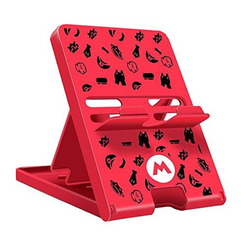 Gazechimp Soporte de Interruptor para Nintendo Animal Crossing Switch Holder, Interruptor Ajustable Lite Soporte Plegable portátil Compacto para Accesorios de - Rojo