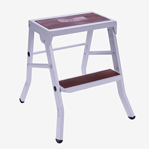 VICRIS - Taburete escalera plegable 2 peldaños - Acero - Blanco / Rojo