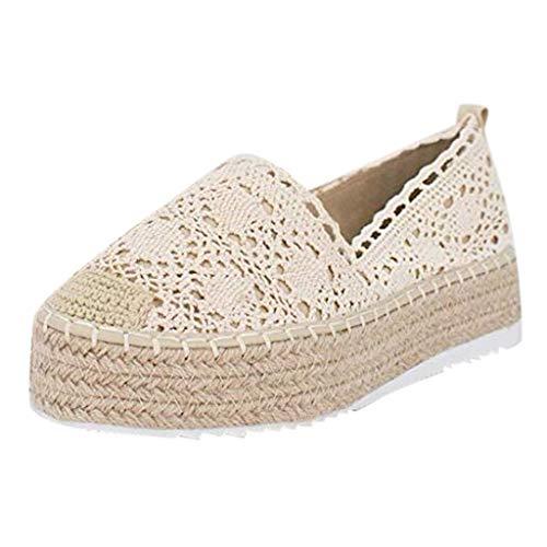 iYmitz Damen Freizeitschuhe Hollow Platform Einfarbig Atmungsaktiv Wedge Espadrilles Sommer Outdoor Schuhe Frauen Espadrilles Ohne Verschluss(Beige,EU/36)