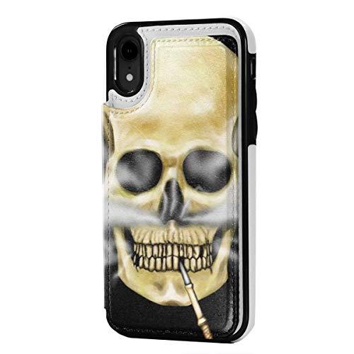 Funda para tarjetas con ranuras para tarjetas de crédito, diseño de calavera de piña, antiarañazos, a prueba de golpes, TPU suave, carcasa protectora de cuerpo completo para iPhone XR de 6.1 pulgadas