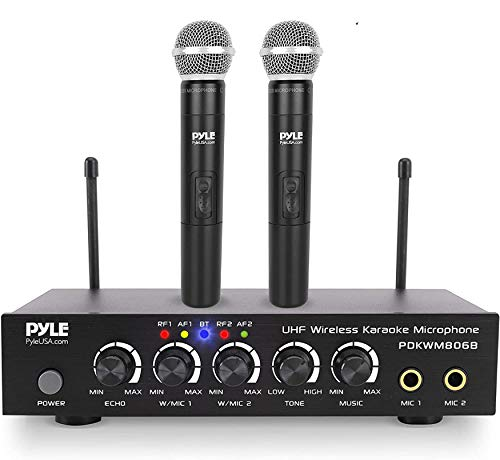 of pylepro karaoke mixers Portable UHF Wireless Microphone System - Battery Operated Dual Bluetooth Cordless Microphone Set, Includes 2 Handheld Transmitter Mic, Mixer Receiver, RCA, for PA Karaoke DJ Party - Pyle PDKWM806B