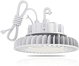 HYPERLITE 5000K LED High Bay (200W) Dimmable UL/DLC Certification Shop Lighting CRI>80Ra 27,000 Lumens Hanging Hook Safe 5' Cable with 110V Plug, 200W-27,000lm,
