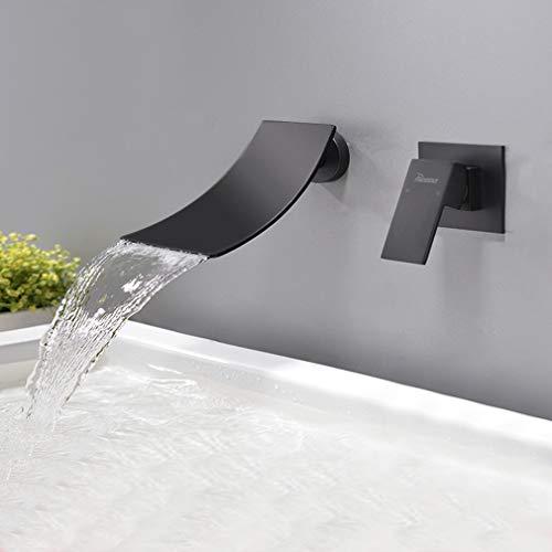 PHASAT Grifo Lavabo Cascada Pared Moderno Mezclador Bañera Empotrado Grifería Baño Monomando Agua fría y Agua Caliente Negro JH088B