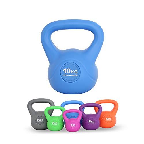 Train Hard Kettlebell-10 KG- Hellblau(Die Kettlebell ist in 6 Größen und Farben erhältlich,4kg/6kg/8kg/10kg/12kg/16kg Studio-Qualität für Krafttraining Gymnastik und Heimtraining )