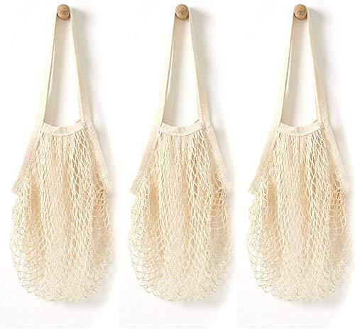 3 Paquete de malla Bolsa de la compra, Producto reutilizable bolsas tejidas de algodón bolsa de red portátil Beach neto de almacenamiento de malla de mano organizador