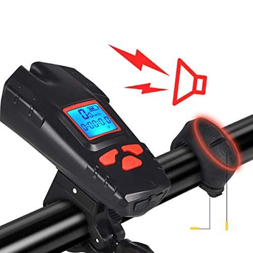Outdoor-Mountainbike-Tachometer, Fahrrad-Geschwindigkeitsmesser Mph, drahtlose Computer-Bremsleuchte mit Horn USB Rücklicht Wiederaufladbare Fahrradrücklicht und Scheinwerfer-Set Auto-Scheinwerfer,Rot